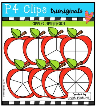 P4 SPINNERS Apples {P4 Clips Trioriginals Digital Clip Art}