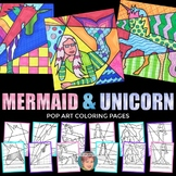 Pop Art Mermaids Coloring Sheets & Unicorns Coloring Sheet