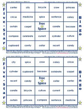 #20 CE, CI and CY Words Bingo Card Game