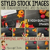 Pumpkins, Apples, and Leaves Styled Stock Photos - Product
