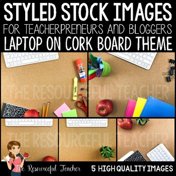 White Laptop on Cork Board Styled Stock Photos - Products for TpT Sellers