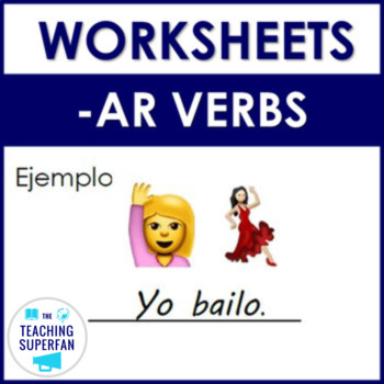 Spanish AR Regular Verb Worksheets with Emoji Puzzles