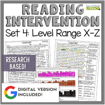 Reading Intervention Program Set 4 Level Range X-Z