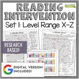 Reading Intervention Program Set 1 Level Range X-Z