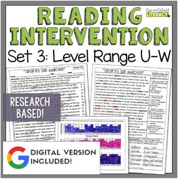 Reading Intervention Program-Reading Passages, Comprehension, Fluency, Word Work