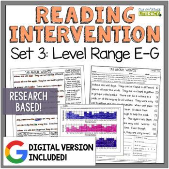 Reading Intervention Program: Set 3 Level Range E-G RESEAR