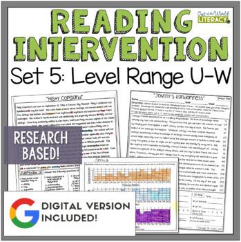 Reading Intervention Program: Set 5 Level Range U-W RESEAR