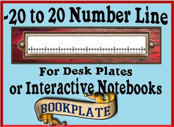 -20 to 20 Number Line for Desk Plates or Interactive Noteb