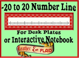 -20 to 20 Number Line for Desk Plates or Interactive Notebook- Leather & Plaid