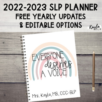 2019-2020 SLP Planner (Free Yearly Updates & Editable Options)