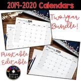 ★2019 and 2020 Monthly Calendar Sets. Printable, Editable! Bundle Savings!