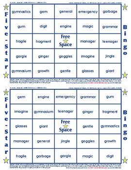 #21 GE, GI and GY Words Bingo Card Game