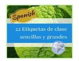 ~ 22 SPANISH Classroom Labels~ 22 Etiquetas de Clase Senci
