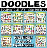 {FLASH DEAL} Holidays Doodles Clipart Mega Bundle