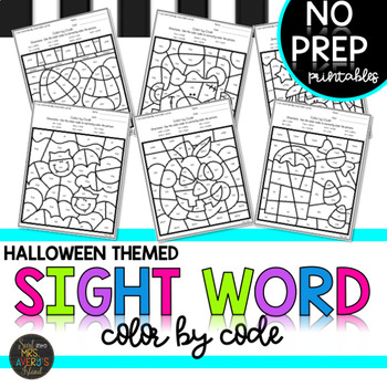 ⭐❤️K-5th Halloween Sight Word Activities Color by Code Bundle⭐❤️