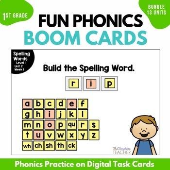 Digital Spelling Activities using BOOM Cards Level 1 BUNDLE