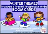 Winter Themed Pronouns and Present Progressive Verbs BOOM CARDS