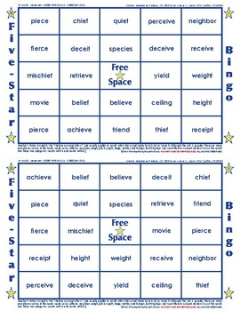 #25 IE and EI Words Bingo Card Game