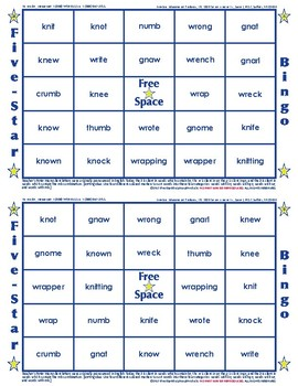 #24 SILENT CONSONANTS Words Bingo Card Game