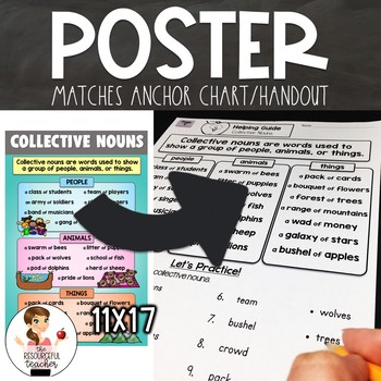 Collective Nouns Activity with Lesson Plans, Handout, Poster, and Answer Keys