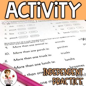 Plural Nouns Adding -es Activity, Lesson Plans, Handout, Poster, and Answer Keys