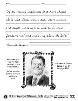 """""""28 Great Quotes from US Presidents"""" Cursive Penmanship"""