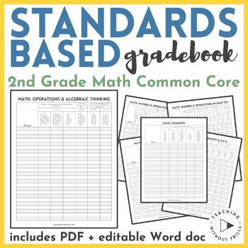  2nd Grade Math  Common Core Standards Based Checklist or Gradebook