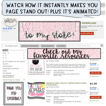 (3) ANIMATED BANNERS PINK SPARKLE THEME