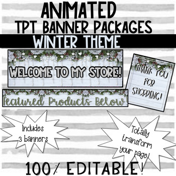 (3) ANIMATED BANNERS WINTER THEME