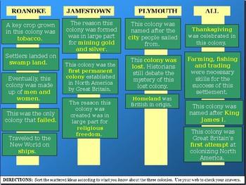 QUIZ STUDY TOOL: Roanoke, Jamestown & Plymouth