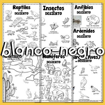 #3 CARTELES y TARJETAS Hábitats de Animales EL DESIERTO en ESPAÑOL Gr. 1-3