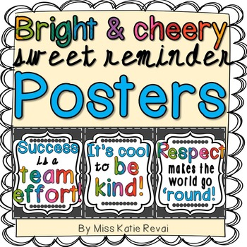 (3) Posters about Kindness, Respect, & Teamwork - Bright & Cheery