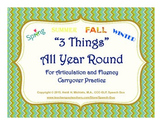 """3 Things"" for Articulation and Fluency Carryover Practice"