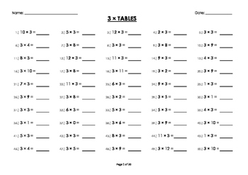 (3 x) Three Multiplication / Times Tables Worksheets / Booklet