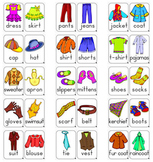 # 30 Colored Clothes Flashcards for Young Learners (in PDF format)