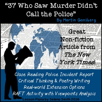 """""""37 Who Saw Murder Didn't Call the Police"""" by Martin Gansberg"""