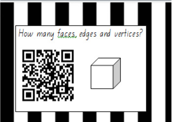 !!!3D shapes faces, edges vertices task cards with QR codes!!!