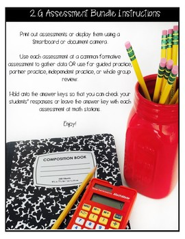 ** 3G CCSS Based Assessments - Includes 20 Questions for 3.G.A.1 & 3.G.A.2**