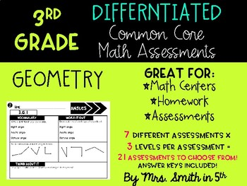 (3rd Grade) Common Core Math Assessments: Differentiated & Aligned to G