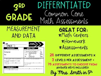(3rd Grade) Common Core Math Assessments: Differentiated & Aligned to MD