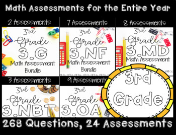 ☆ 3rd Grade Math CCSS Standard Based Assessments for Year! 269 Questions! ☆