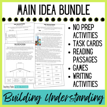Finding Main Idea Activities Bundle - Centers, Task Cards, Cut and Paste, More