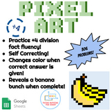 ÷4 Division Pixel Art! Digital Practice for Math Facts with Secret Reveal!