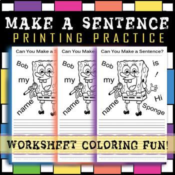 Printing Practice Worksheet / Sentence Practice ★★★★ Coloring Fun! 30-40 MINUTES