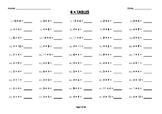 (4 x) Four Multiplication / Times Tables Worksheets / Booklet
