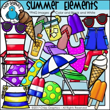 Summer Elements Clip Art Set - Chirp Graphics
