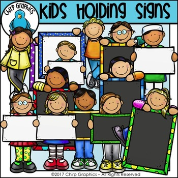 Kids Holding Signs Clip Art - Chirp Graphics