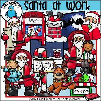 Santa Claus at Work Clip Art Set - Chirp Graphics