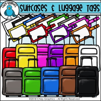 Suitcases and Luggage Tags Multicolor Clip Art Set - Chirp Graphics