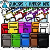 Suitcases and Luggage Tags Multicolor Clip Art Set - Chirp